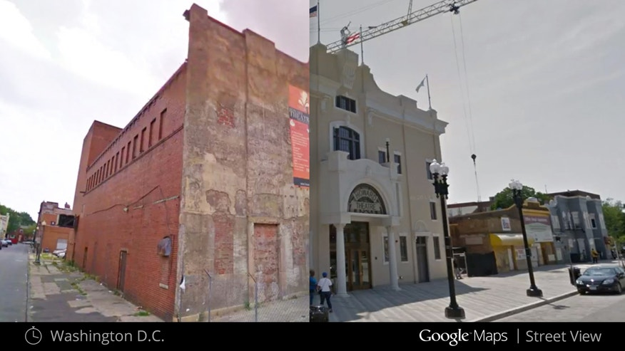 This image shows what the Howard Theater in Washington looked like in July 2009, left, and after renovation in May 2012, right.