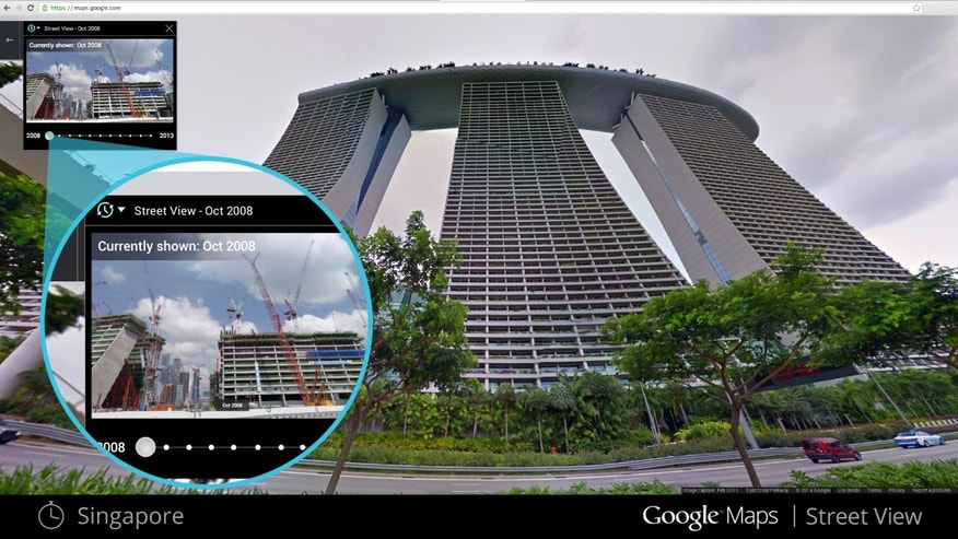 This image shows what a building in Singapore looked like in Oct. 2008, upper left, against a more recent photo.