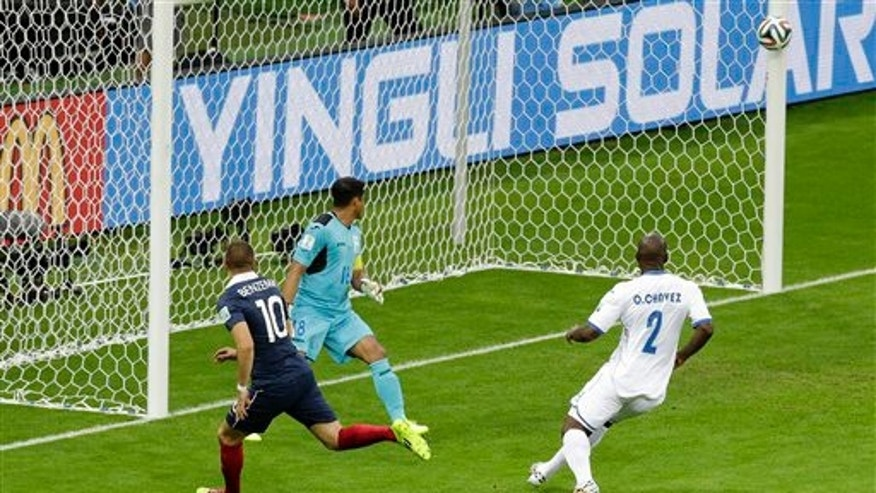 Goal line technology was used to award a goal for the first time in World Cup history during France's 3-0 victory over Honduras.