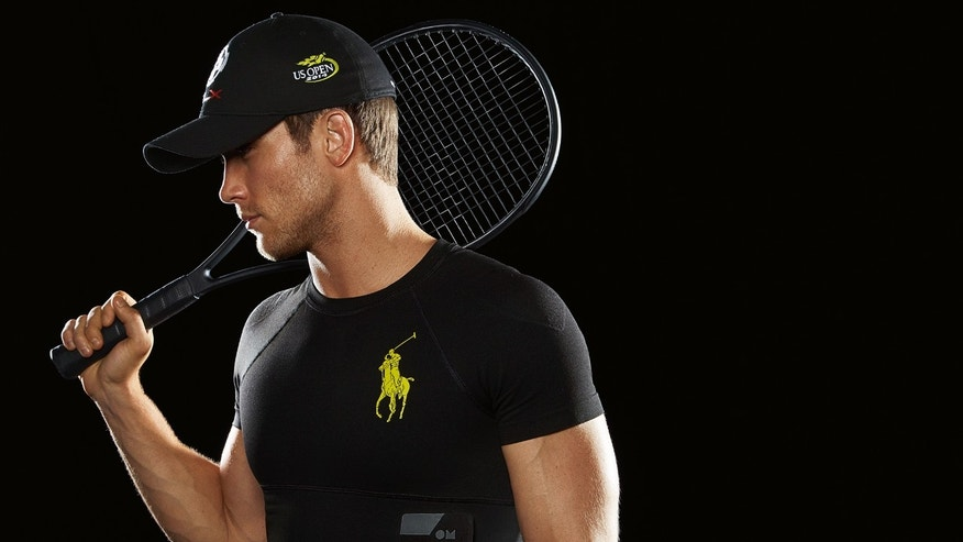 This product image released by Ralph Lauren shows the new Polo Tech compression shirt. The garment offers smart technology to send heartbeat, respiration, stress levels and other data to tablets and smartphones.