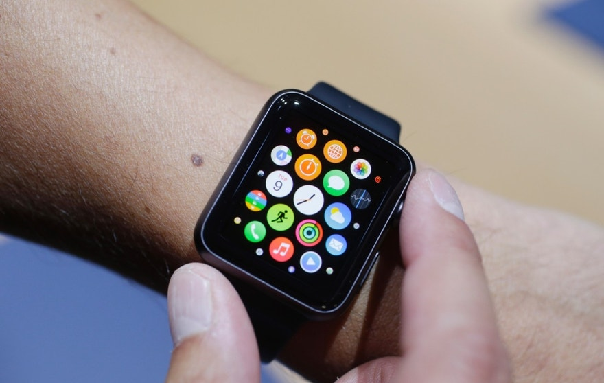 The new Apple Watch is shown during a new product release on Tuesday, Sept. 9, 2014, in Cupertino, Calif. (AP Photo/Marcio Jose Sanchez)