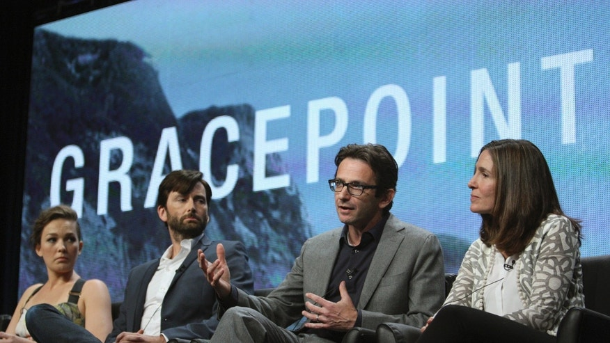 "(L-R) Actors Virginia Kull and David Tennant, and executive producers Dan Futterman and Carolyn Bernstein of the series ""Gracepoint"" attend the 2014 TCA Summer Press Tour at the Beverly Hilton hotel in Beverly Hills, California, July 20, 2014."