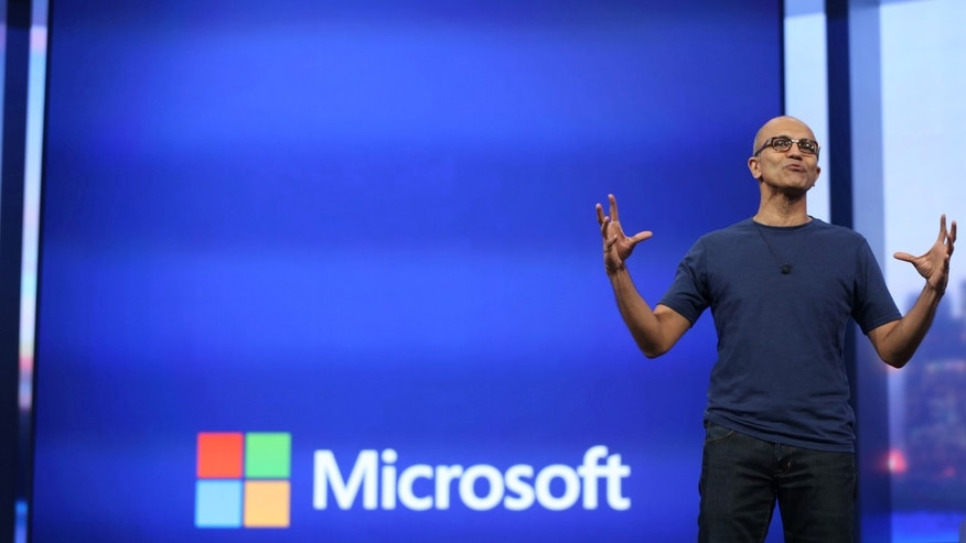 Microsoft CEO Satya Nadella gestures during his keynote address at the company's  'build' conference in San Francisco in April 2014.