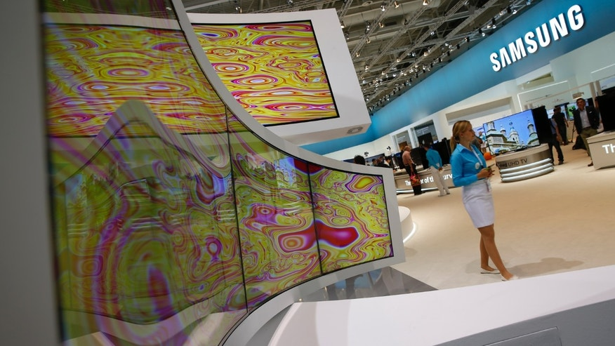 An installation of Samsung Timeless Curved UHD TV screens is pictured at the IFA consumer technology fair in Berlin.
