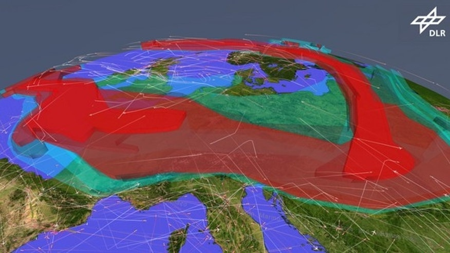 A simulation showing air traffic over Europe restricted by an ash cloud.