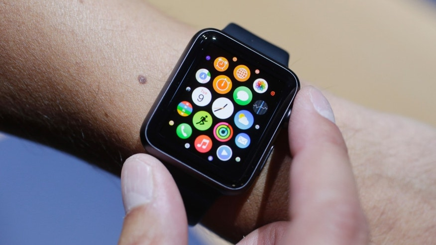 The new Apple Watch is shown during a new product release on Sept. 9, 2014, in Cupertino, Calif.