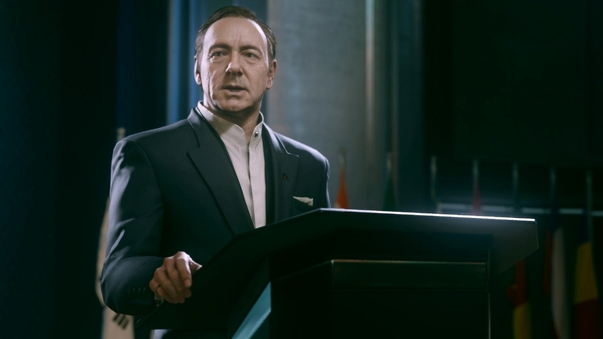 "This video game image released by Activision shows an animated Kevin Spacey in a scene from ""Call of Duty: Advanced Warfare."""