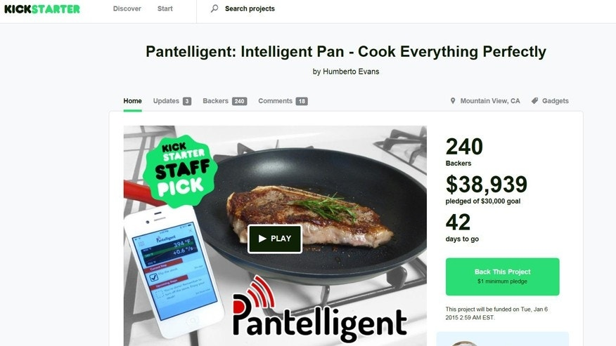 Screenshot for Pantelligent on Kickstarter.