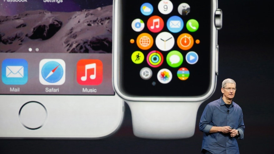 Apple CEO Tim Cook speaks during an Apple event announcing the iPhone 6 and the Apple Watch.