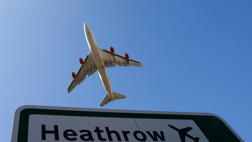 File photo - an aircraft takes off from Heathrow airport in west London Sep. 2, 2014.