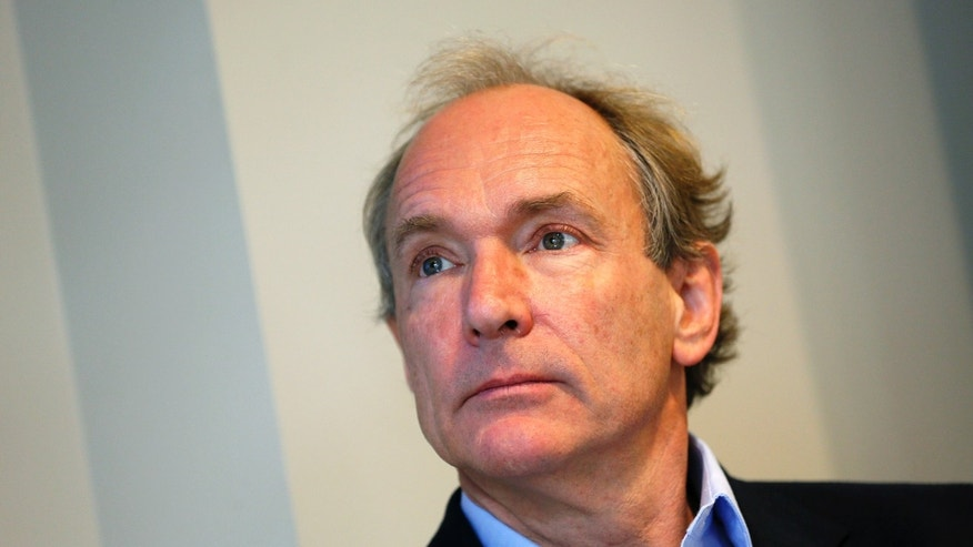 Tim Berners-Lee attends a news conference in London Dec. 11, 2014.