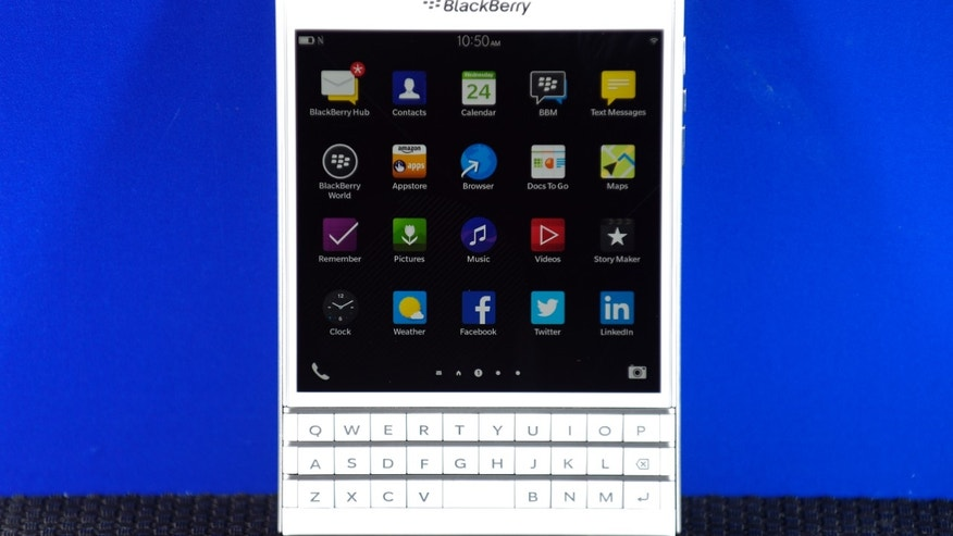 A BlackBerry Passport smartphone is shown at its official launching event in Toronto, Sep. 24.