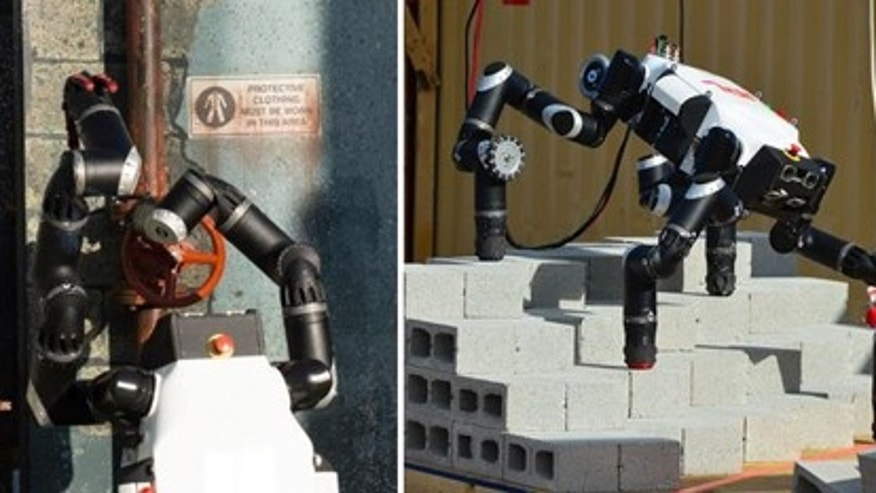 RoboSimian performs two tasks during the first DARPA Robotics Challenge. On the left the robot closes a valve, and on the right it walks over obstacles.