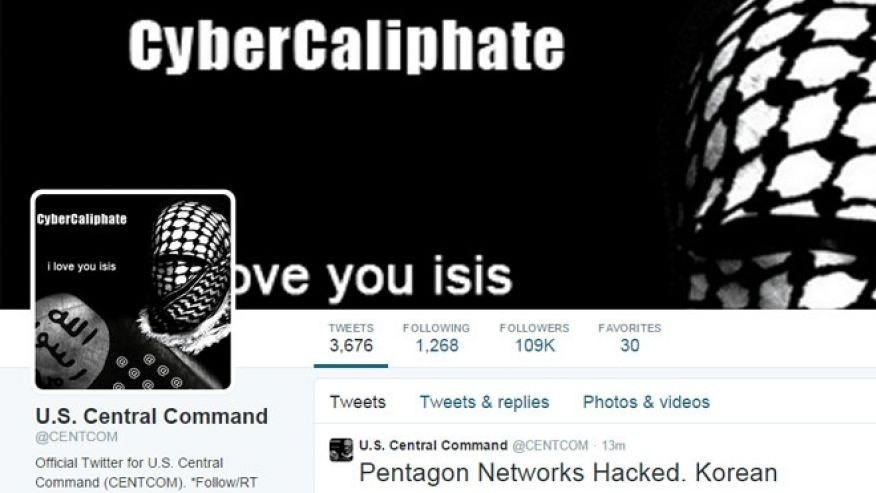 This image from January 2015 shows the compromised Twitter account of U.S. Central Command.
