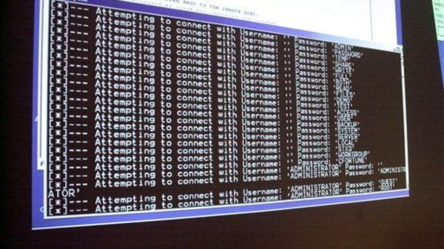 In this Thursday, Jan. 10, 2002, file photo, a computer screen shows a password attack in progress at the Norwich University computer security training program in Northfield, Vt.
