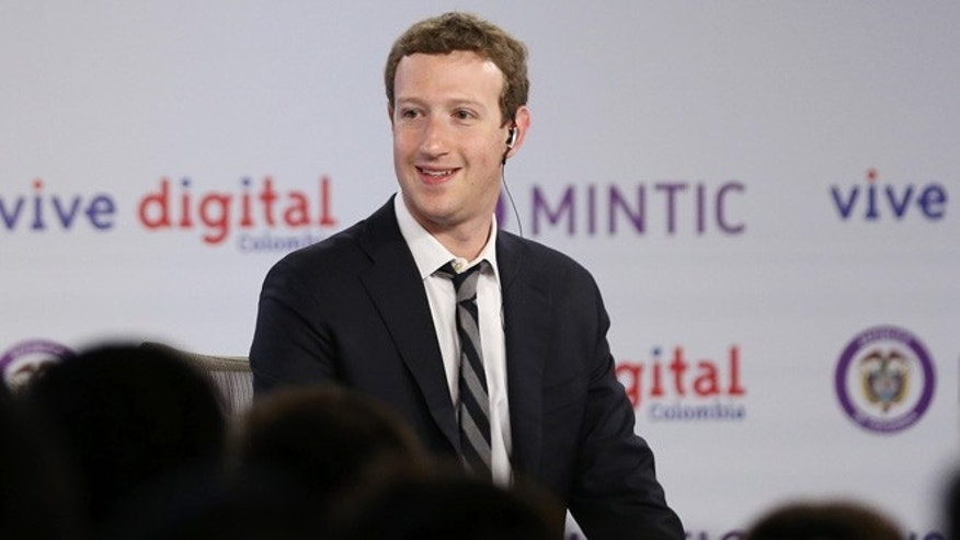 Jan. 14: Facebook founder and CEO Mark Zuckerberg looks out towards the audience at an event to launch in Colombia an app providing free basic Internet service via cellphone connections, in Bogota.