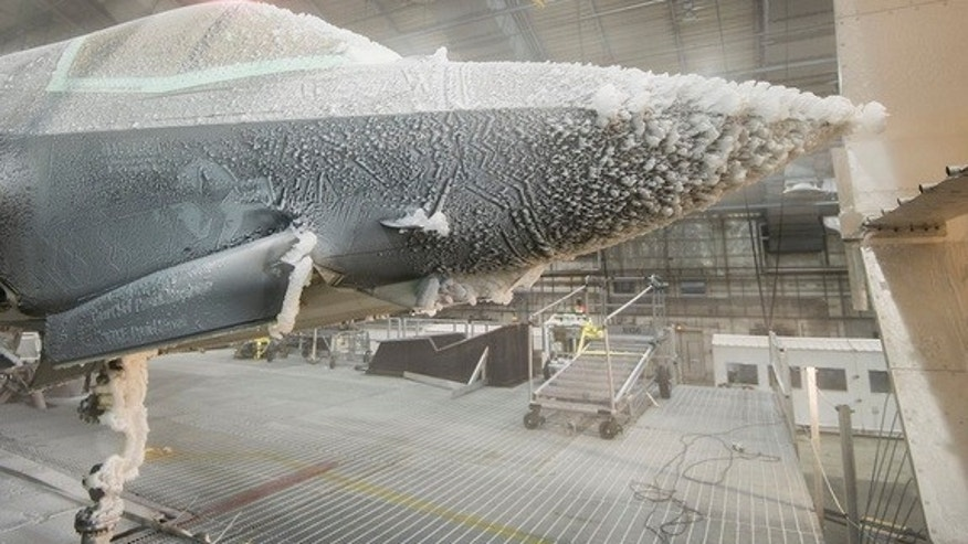 "The F-35 Lightning II undergoes ""ice evaluation testing"" at a climactic laboratory in Florida."