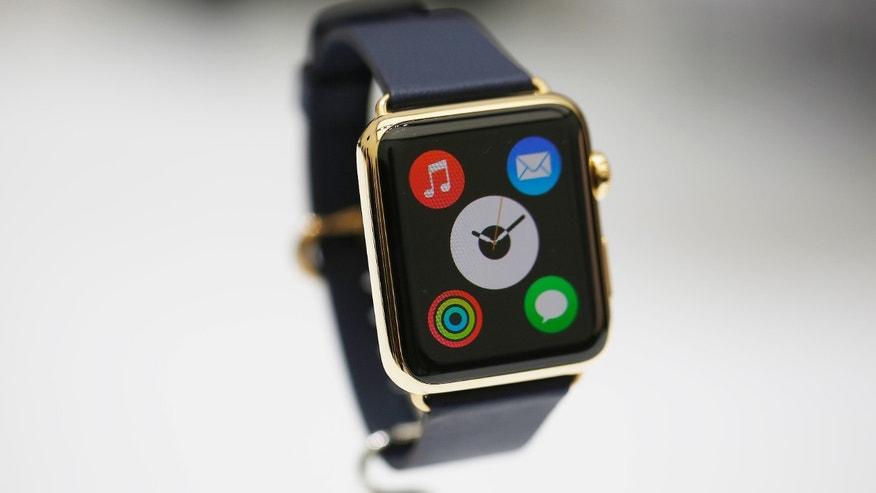 The new Apple Watch is pictured during an Apple event at the Flint Center for the Performing Arts in Cupertino, California, September 9, 2014.