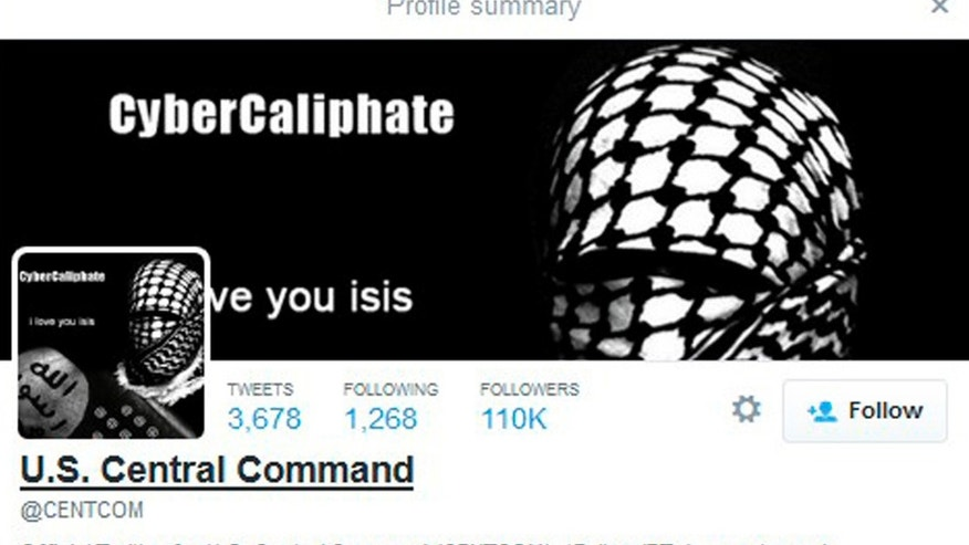 File image - A computer screenshot shows the U.S. Central Command Twitter feed after it was apparently hacked by people claiming to be Islamic State sympathizers Jan.12, 2015.