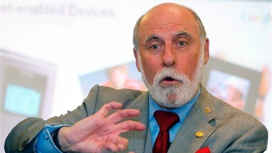 Vice President and Chief Internet Evangelist for Google, Vinton Cerf speaks during a press conference of the 16th World Congress on Information Technology in Kuala Lumpur, Malaysia, May 21, 2008.