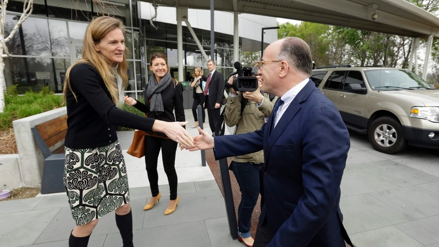 Feb. 20, 2015: Google Senior Vice President of Communication Rachel Whetstone, left, greets French Interior Minister Bernard Cazeneuve upon his arrival at Google headquarters.