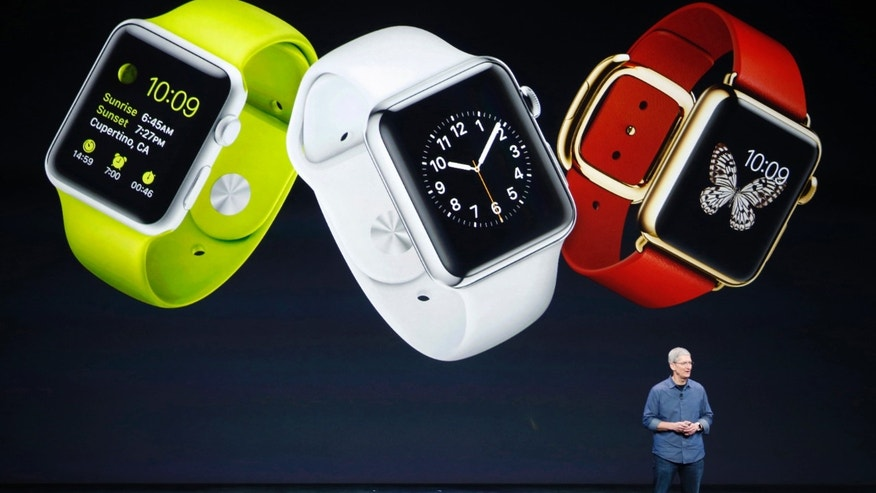 Apple CEO Tim Cook speaks about the Apple Watch during an Apple event at the Flint Center in Cupertino, Calif., Sept. 9, 2014.