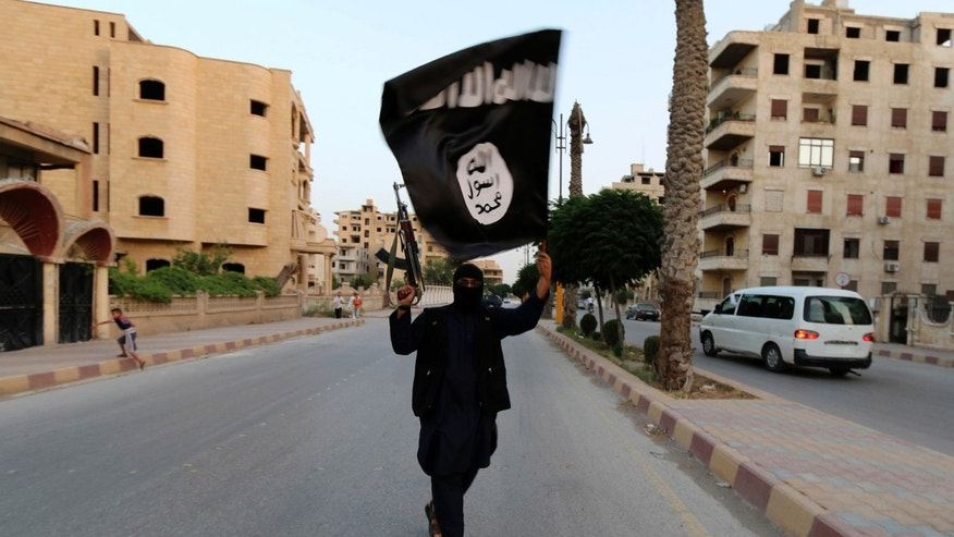 A member loyal to the Islamic State waves an ISIS flag in Raqqa June 29, 2014.
