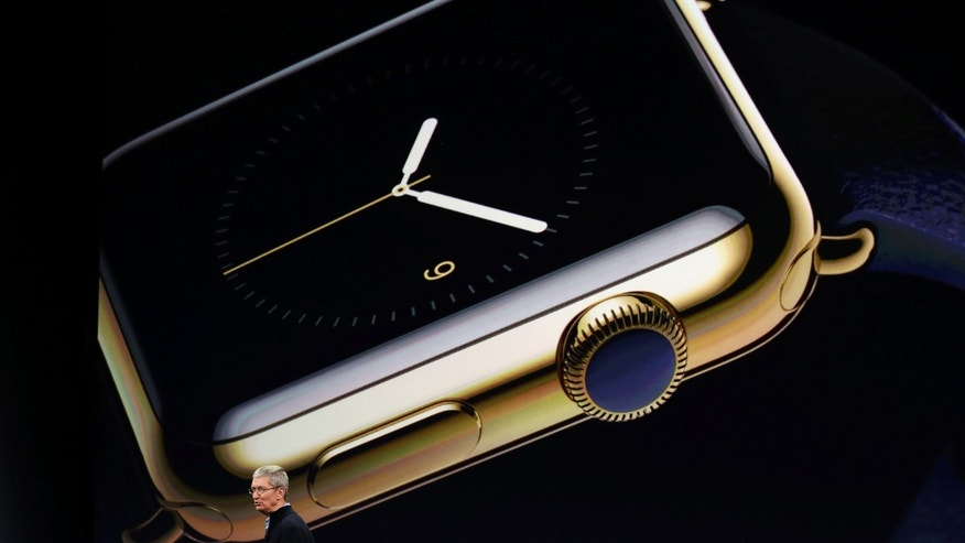 Apple CEO Tim Cook introduces the Apple Watch March 9, 2015.