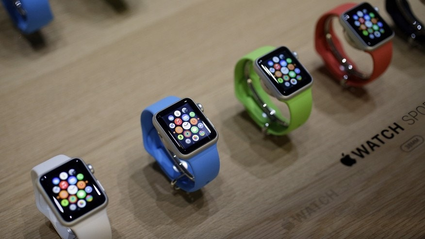 Varieties of the new Apple Watch are on display in the demo room after an Apple event on Monday, March 9, 2015, in San Francisco.