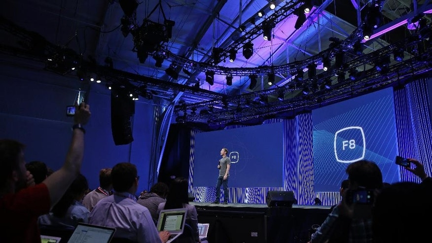 CEO Mark Zuckerberg delivers the keynote address during the Facebook F8 Developer Conference Wednesday, March 25, 2015, in San Francisco. (AP Photo/Eric Risberg)