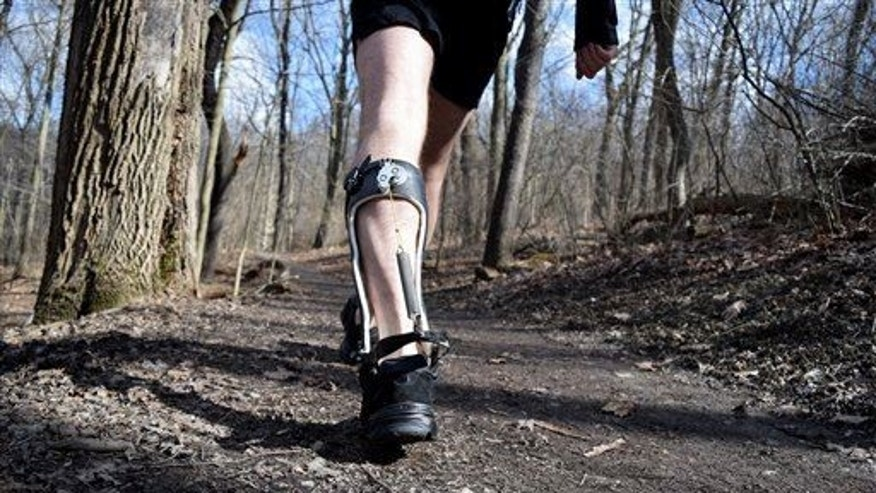The exoskeleton boot in action.