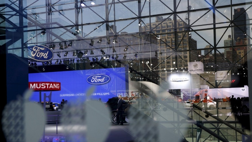 An overview picturing some of the New York International Auto Show in New York, April 1, 2015.