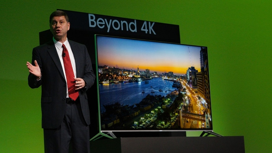 File photo. Jim Sanduski, President of Sharp Electronics Marketing Corporation of America Electronics, unveils the new Sharp Aquos Beyond 4K television at the Sharp press conference at the International Consumer Electronics show (CES) in Las Vegas, Nevada January 5, 2015.
