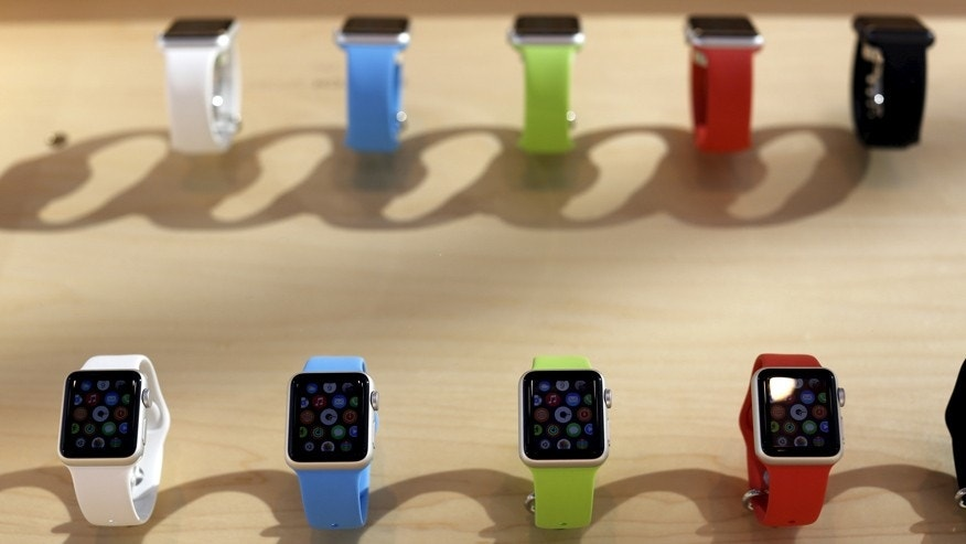 A selection of Apple Watches is shown in Palo Alto, California April 10, 2015.