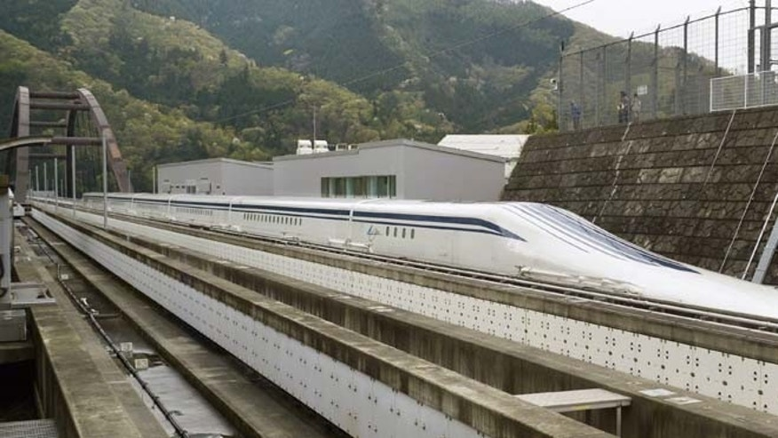 April 21, 2015: A Japanese maglev train that is the fastest passenger train in the world runs on the Maglev Test Line in Tsuru, about 50 miles west of Tokyo.