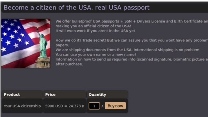 This screengrab from a darknet site show some of the illegal items available for purchase.