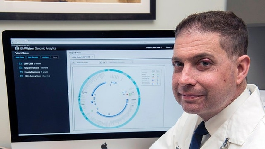 Lukas Wartman, MD, assistant director of cancer genomics at the McDonnell Genome Institute at Washington University in St. Louis, analyzes genomic sequencing data using IBM Watson Genomic Analytics.