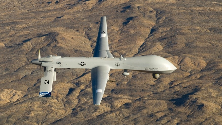 A U.S. Air Force MQ-1 Predator unmanned aerial vehicle assigned to the California Air National Guard's 163rd Reconnaissance Wing flies near the Southern California Logistics Airport in Victorville, Calif., January 7, 2012
