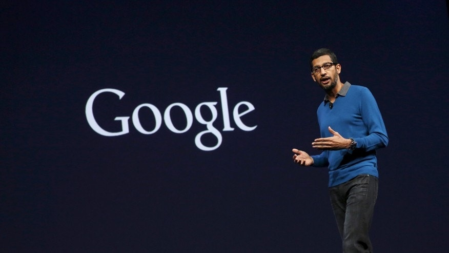 Sundar Pichai, senior vice president for products, delivers his keynote address during the Google I/O developers conference in San Francisco, Calif. May 28, 2015.