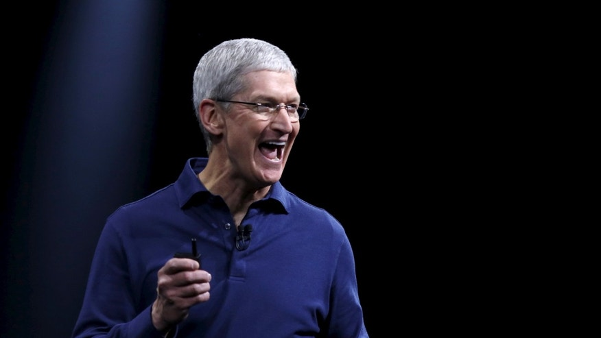 Apple CEO Tim Cook delivers his keynote address at the Worldwide Developers Conference in San Francisco, Calif. June 8, 2015.