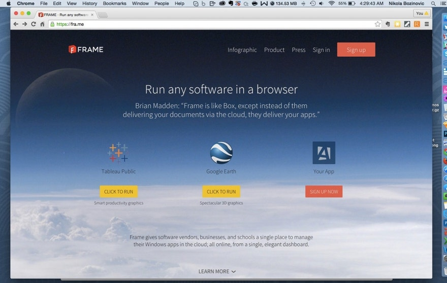 Screenshot of Frame homepage