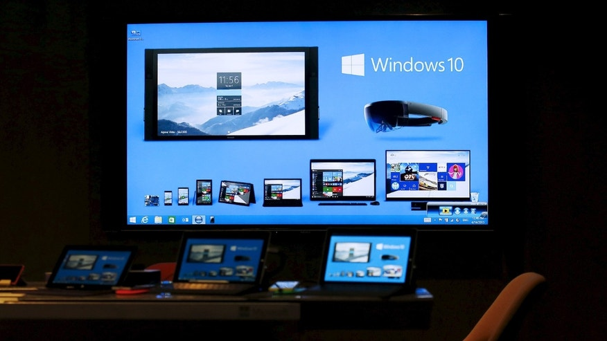 File photo. Windows 10 installed devices are displayed at Microsoft China Center One in Beijing April 14,  2015. The center which has various displays showcases Microsoft inspired innovation in China, the company said.