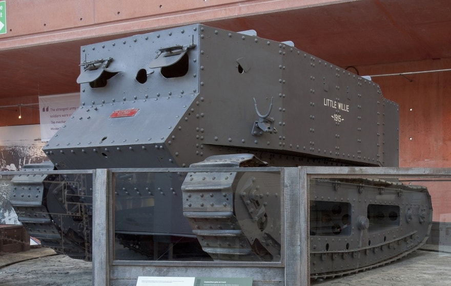 Little Willie tank housed at The Tank Museum in Bovington, U.K.