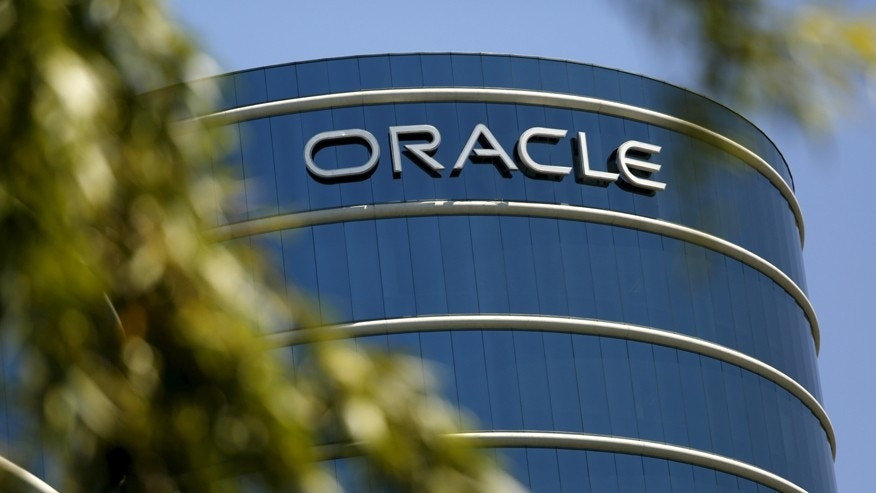 The Oracle logo is seen on its campus in Redwood City, California June 15, 2015.