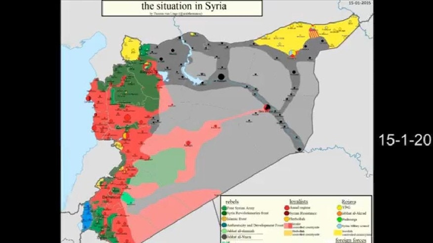 Screenshot of NM vd S YouTube video showing the situation in Syria using Thomas van Linge's maps.