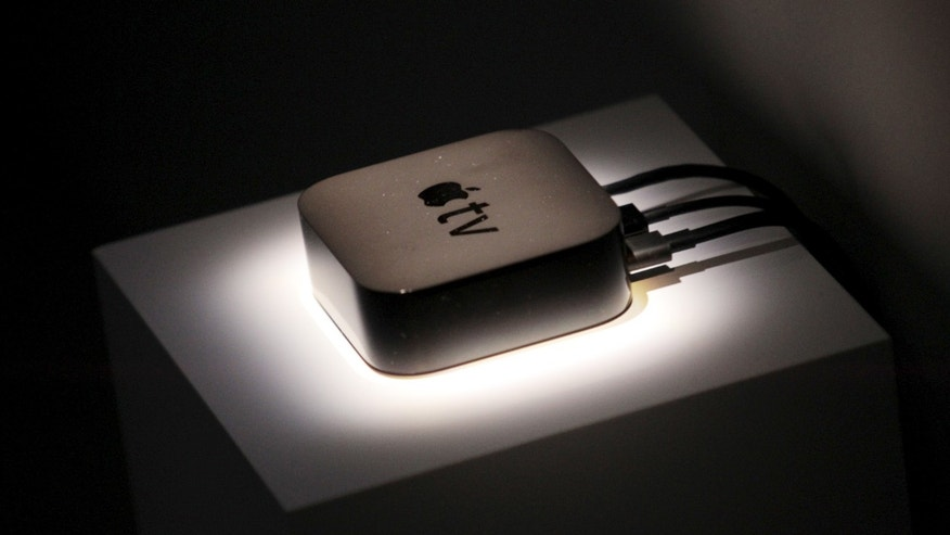 The new Apple TV is displayed during an Apple media event in San Francisco, California, Sept. 9, 2015.