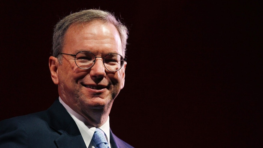 File photo - Google Chairman Eric Schmidt smiles during a rehearsal of his MacTaggart lecture speech for the Edinburgh International Television Festival in Edinburgh, Scotland Aug. 26, 2011.