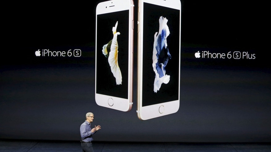 Apple CEO Tim Cook introduces the iPhone 6s and iPhone 6sPlus during an Apple media event in San Francisco, Calif., Sept. 9, 2015.