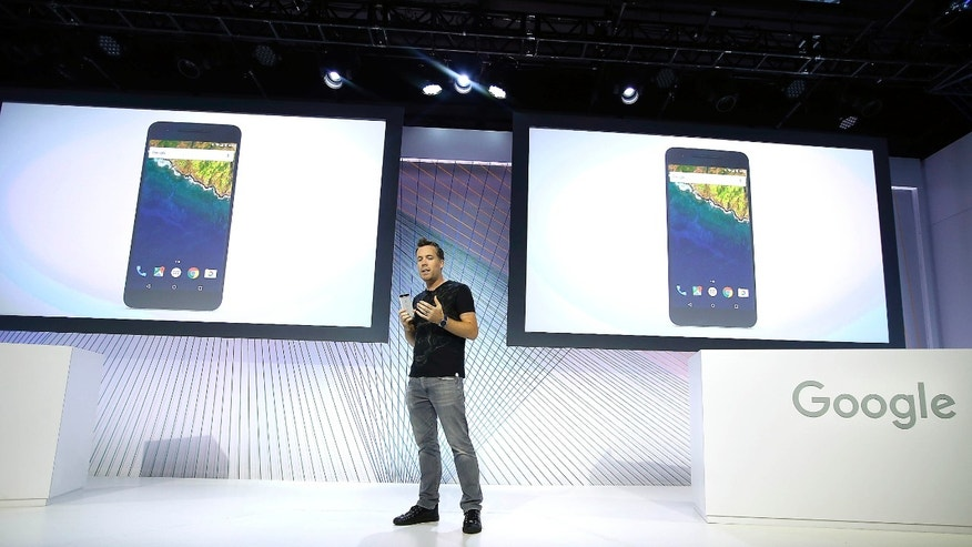 Dave Burke, vice president of engineering at Google, speaks about the new Google Nexus 6P during an event on Tuesday, Sept. 29, 2015, in San Francisco. Google is countering the release of Apples latest iPhones with two devices running on 'Marshmallow', a new version of Android software designed to steer and document even more of its users lives.