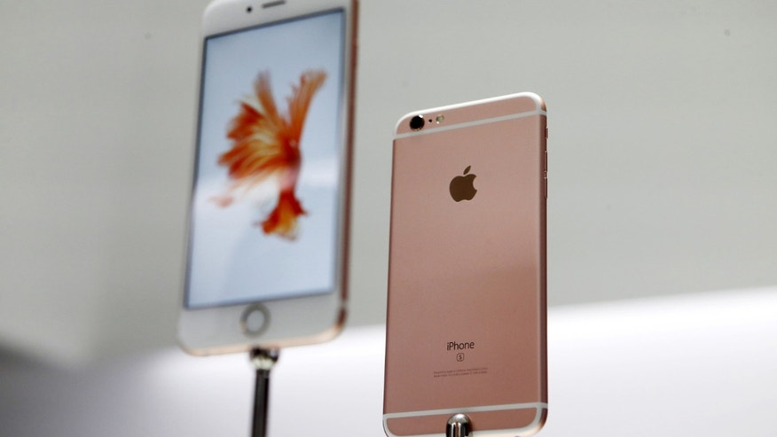 The Apple iPhone 6S and 6S Plus are displayed during an Apple media event in San Francisco, Calif., Sept. 9, 2015.